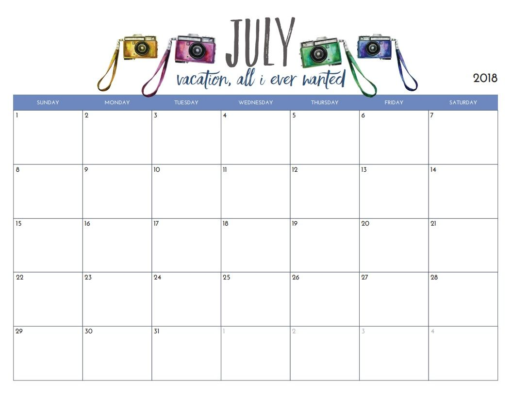 photograph relating to Free Printable July Calendar referred to as Totally free Printable July 2018 Month to month Calendar Clroom Resources