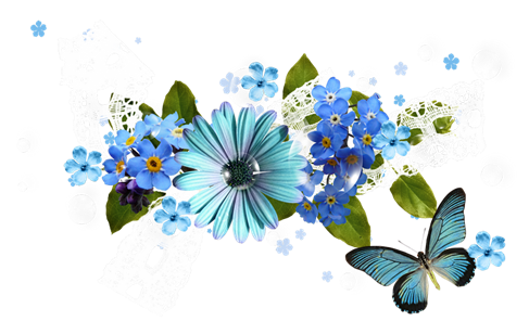 Melody of spring flowers clipart for scrapbook PNG files