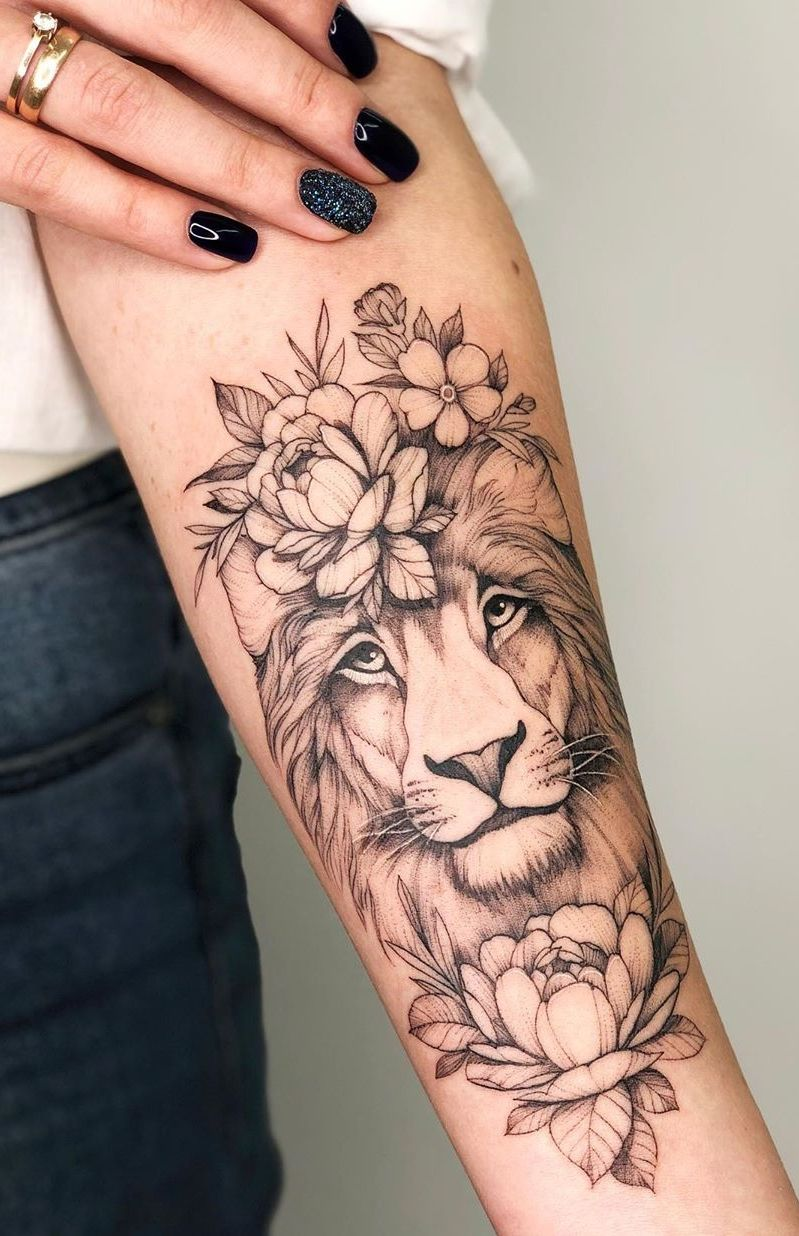 50 Eye Catching Lion Tattoos That Ll Make You Want To Get Inked In 2020 Hand Tattoos Forearm Tattoo Women Lion Tattoo With Flowers