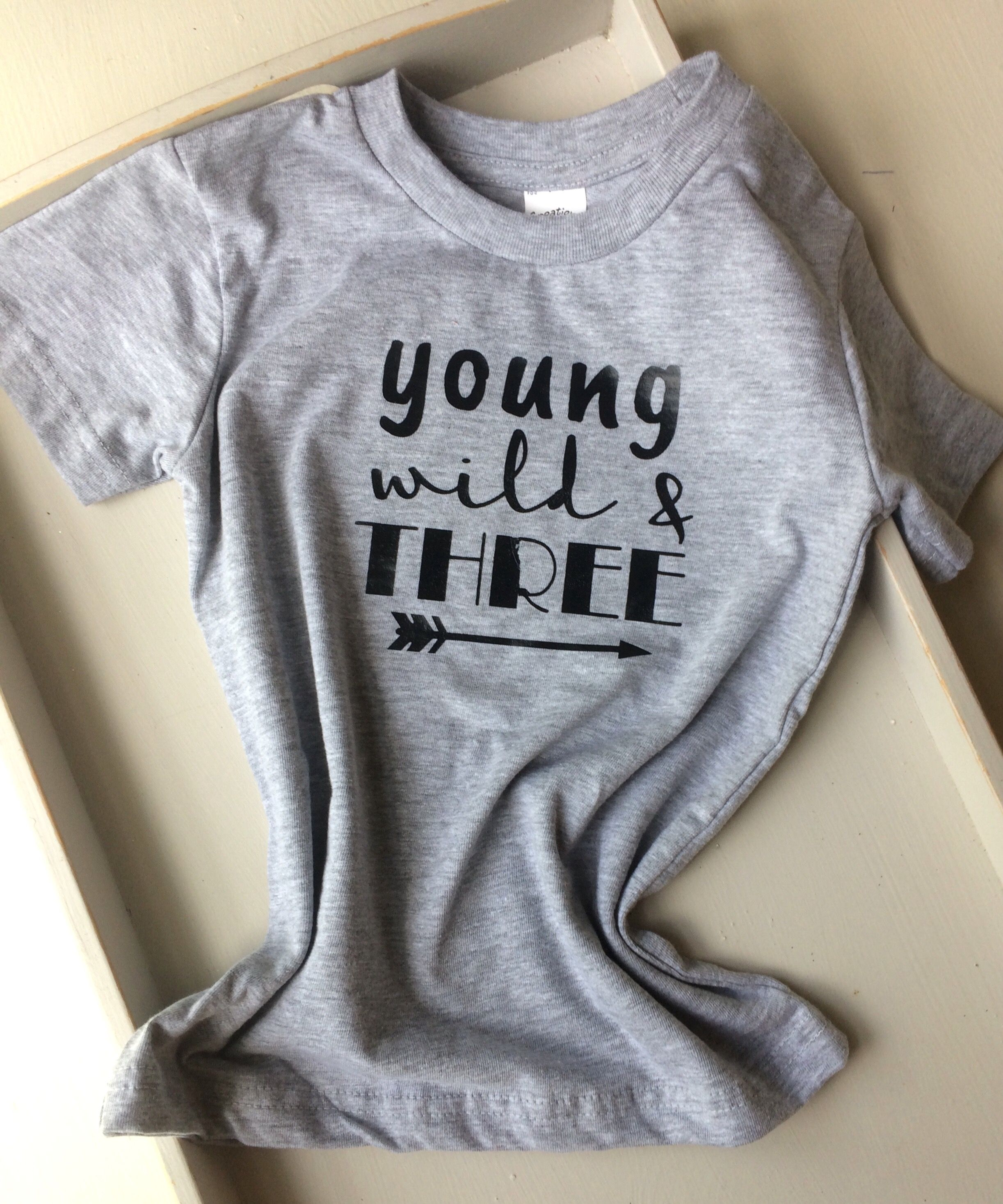 Young Wild And Three Gray Third Birthday Shirt 3rd Party For Boy