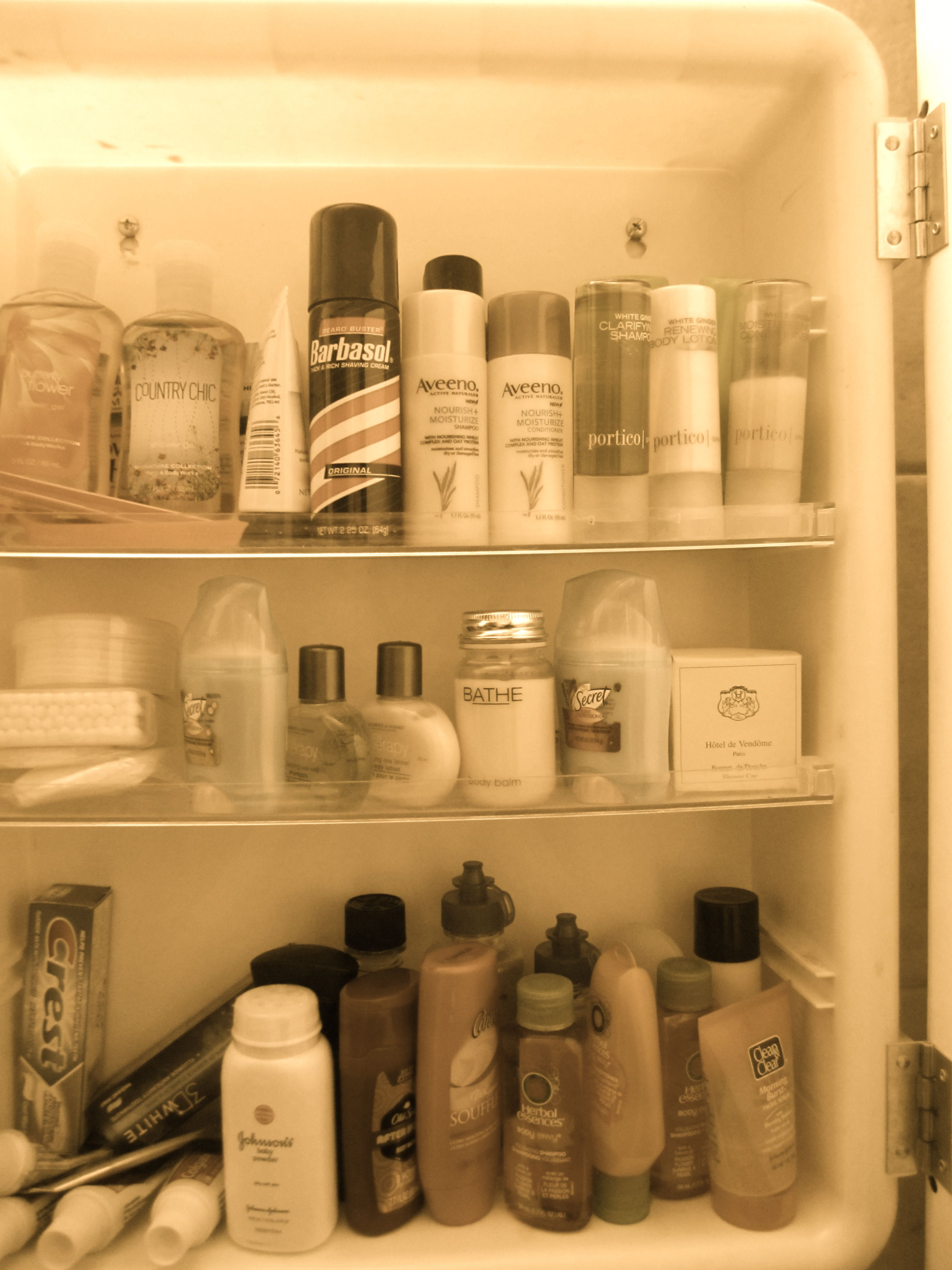 stocked guest bathroom kept all the hotel shampoos and