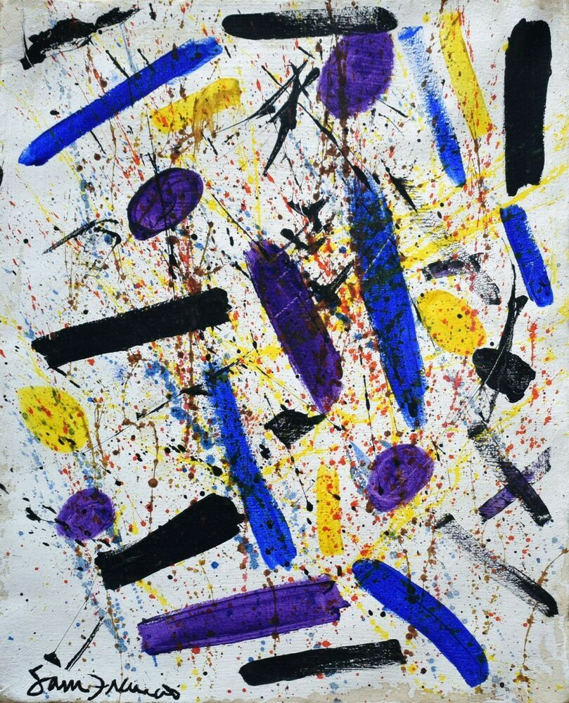 Vintage Abstract Painting Signed Sam Francis, Modern Art