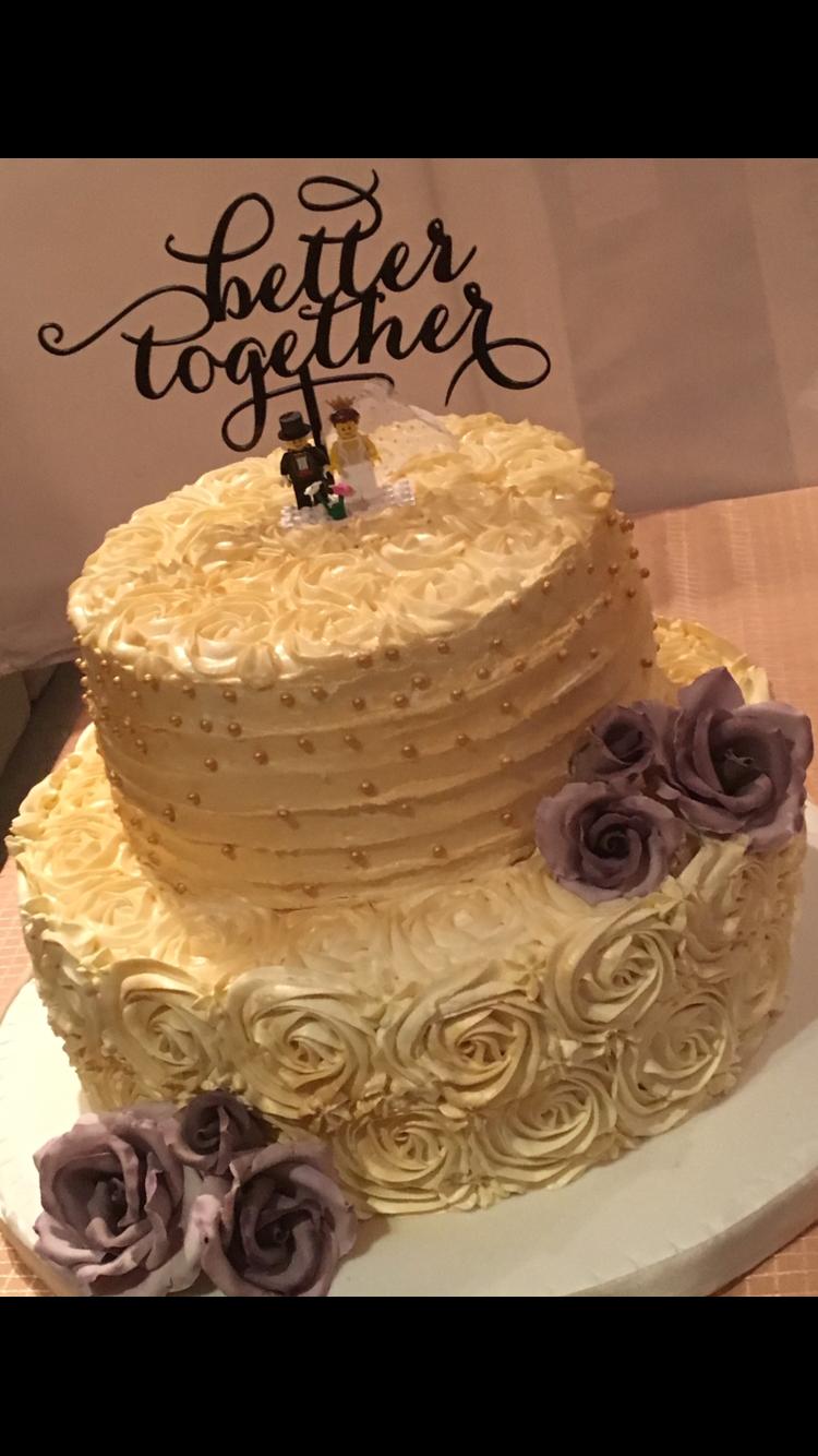 Simple elegant rosette wedding cake Buttercream