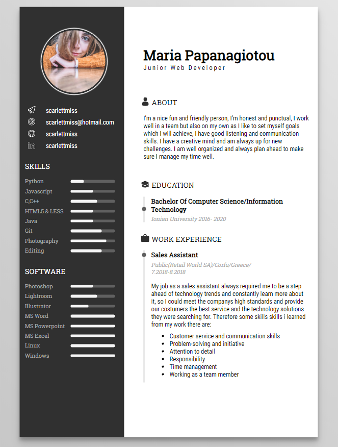 Mnml Cv This Is A Minimal Static Resume Template Powered By
