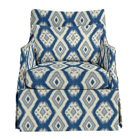 Larkin Club Chair Ballard Designs   Tybee Blue