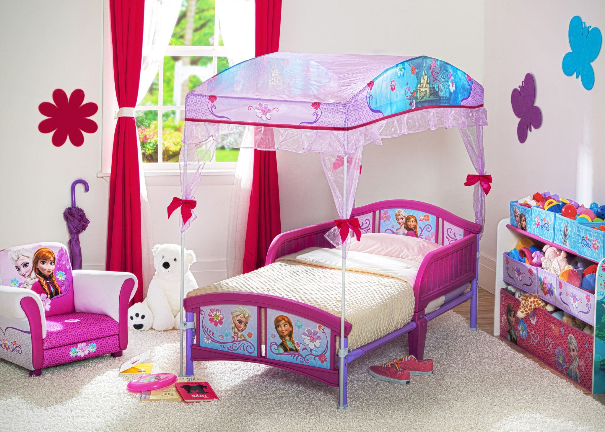 - Frozen Deluxe Multi-Bin Toy Organizer Toddler Canopy Bed, Girls