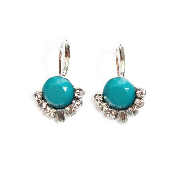 Turquoise and Crystal Small Drop Earrings