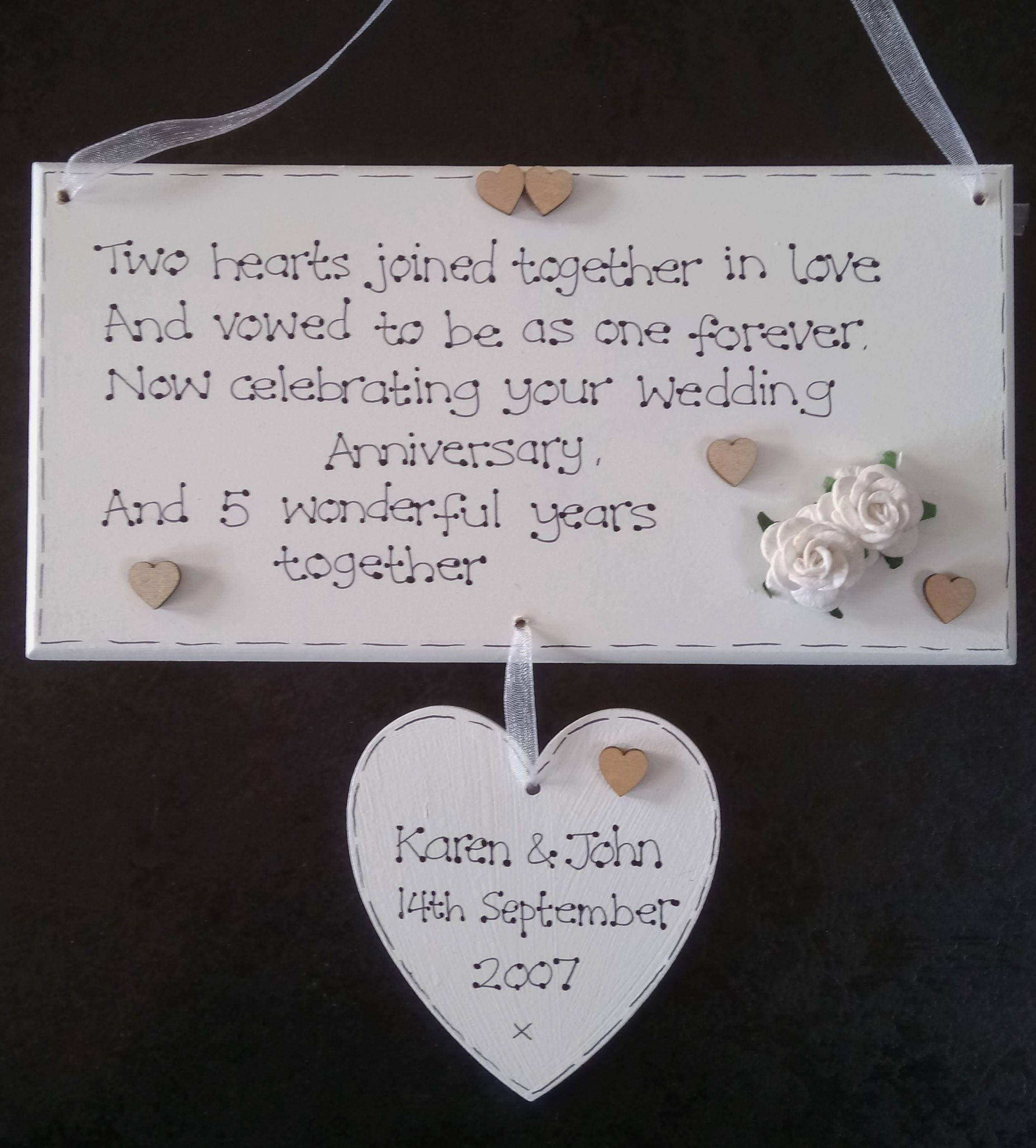 Handmade Personalised 5th Fifth Wood Wedding Anniversary Poem Gift Plaque Exclusive To Kaz Kraft Uk Wedding Anniversary Poems Anniversary Poems Wedding Anniversary