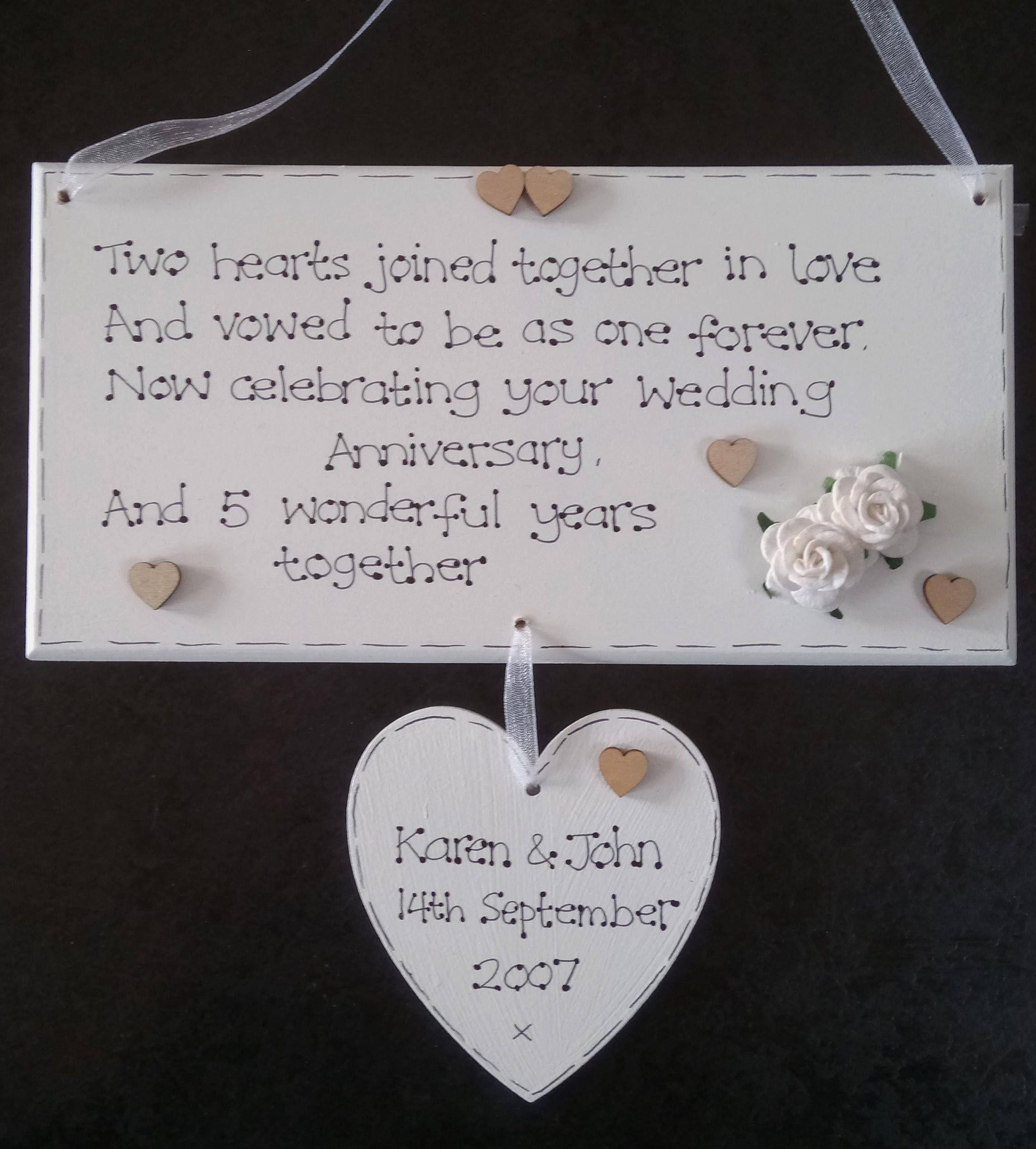 Handmade Personalised 5th Fifth Wood Wedding Anniversary