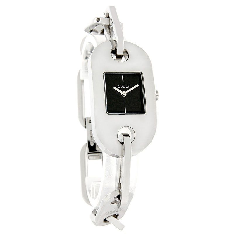 Gucci 6155 Series Ladies Swiss Quartz Oval Dog Tag Link Bracelet Watch YA061506