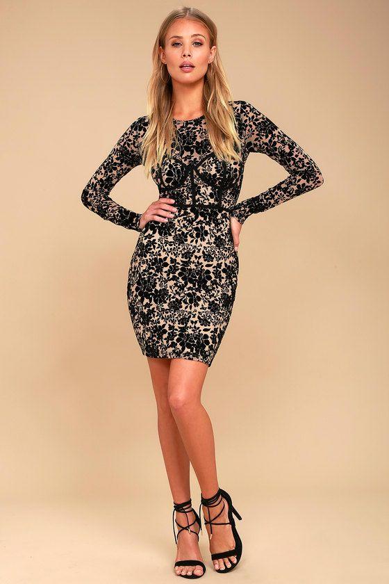 0b53c8a0d2 Cor-Set to Go Black and Nude Burnout Velvet Print Dress 3