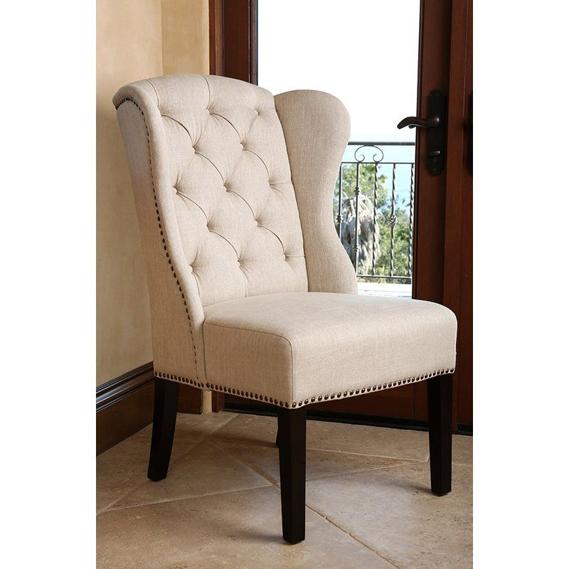 Abbyson Living Kyrra Tufted Linen Wingback Dining Chair Cream From Hayneedle Com Dining Chairs Wingback Dining Chair Abbyson Living