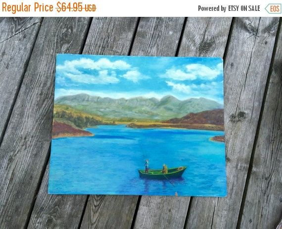 original painting landscape blue lake green fishing boat original