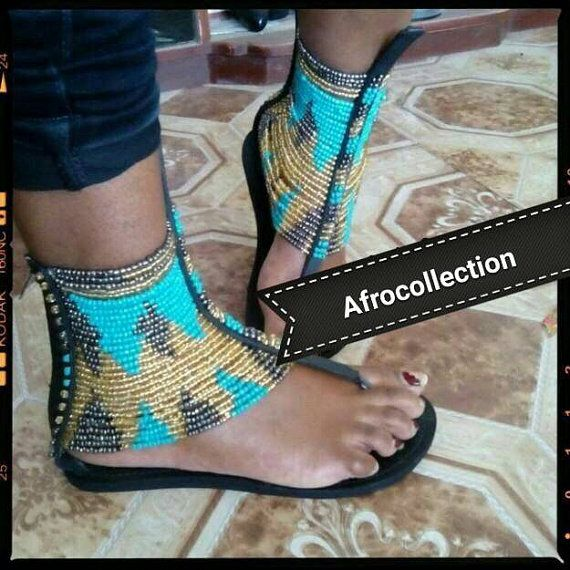 African maasai beaded sandal by AFROCOLLECTION2015 on Etsy  3ac37b82c1
