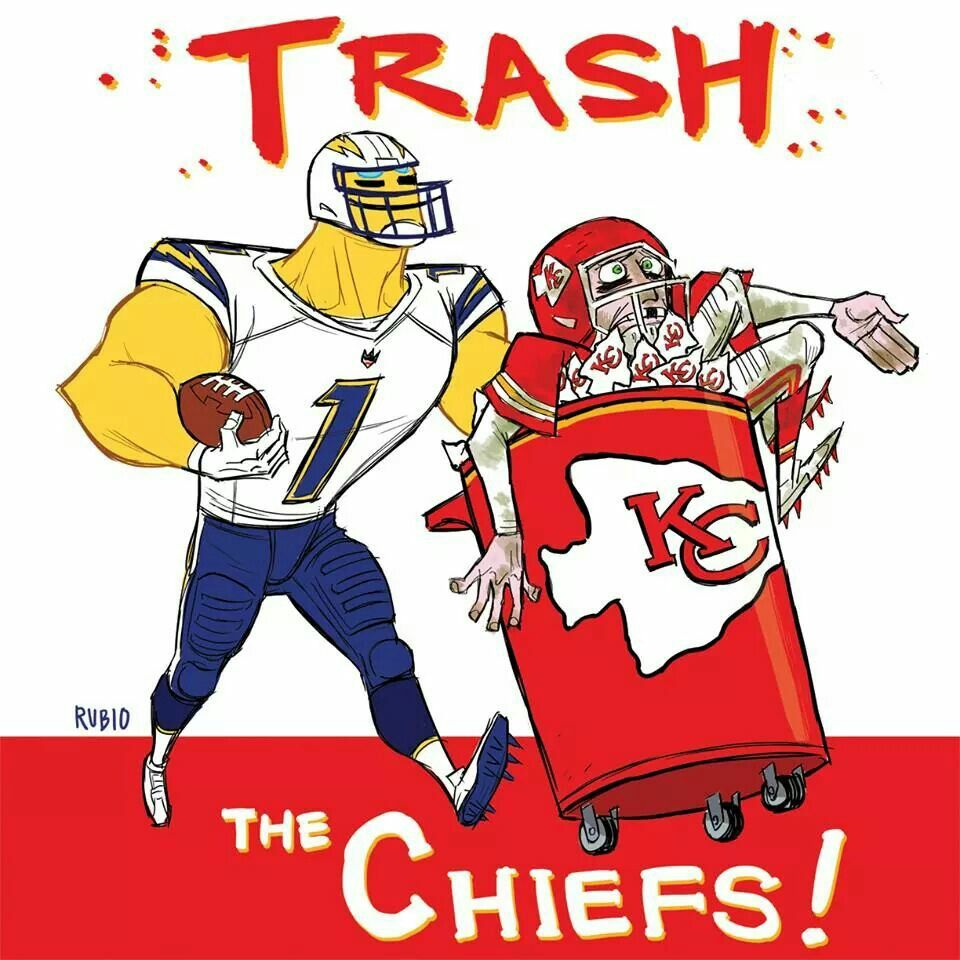 Trash The Chiefs Art By Bobby Rubio San Diego Chargers Los Angeles Chargers Sports Logo