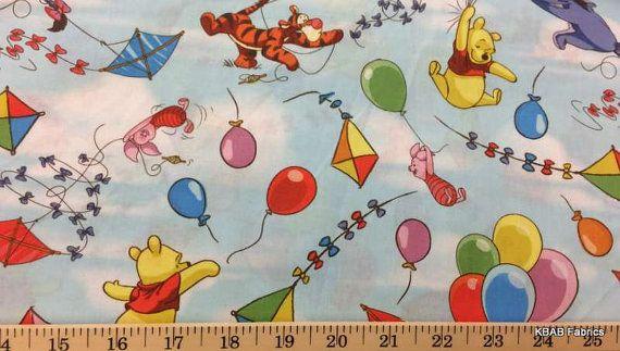 Kid/'s Nursery-Curtains-Disney WINNIE THE POOH WITH BALLOON 100/% COTTON FABRIC