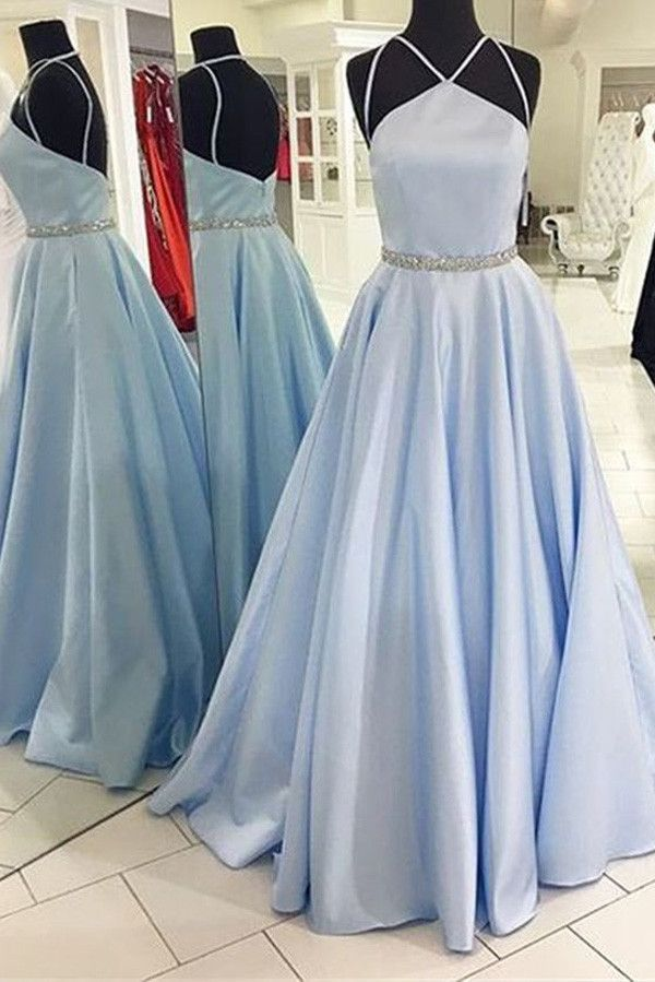 Charming Prom Dress,Formal Dress,Halter Satin Prom Dress,Backless ...