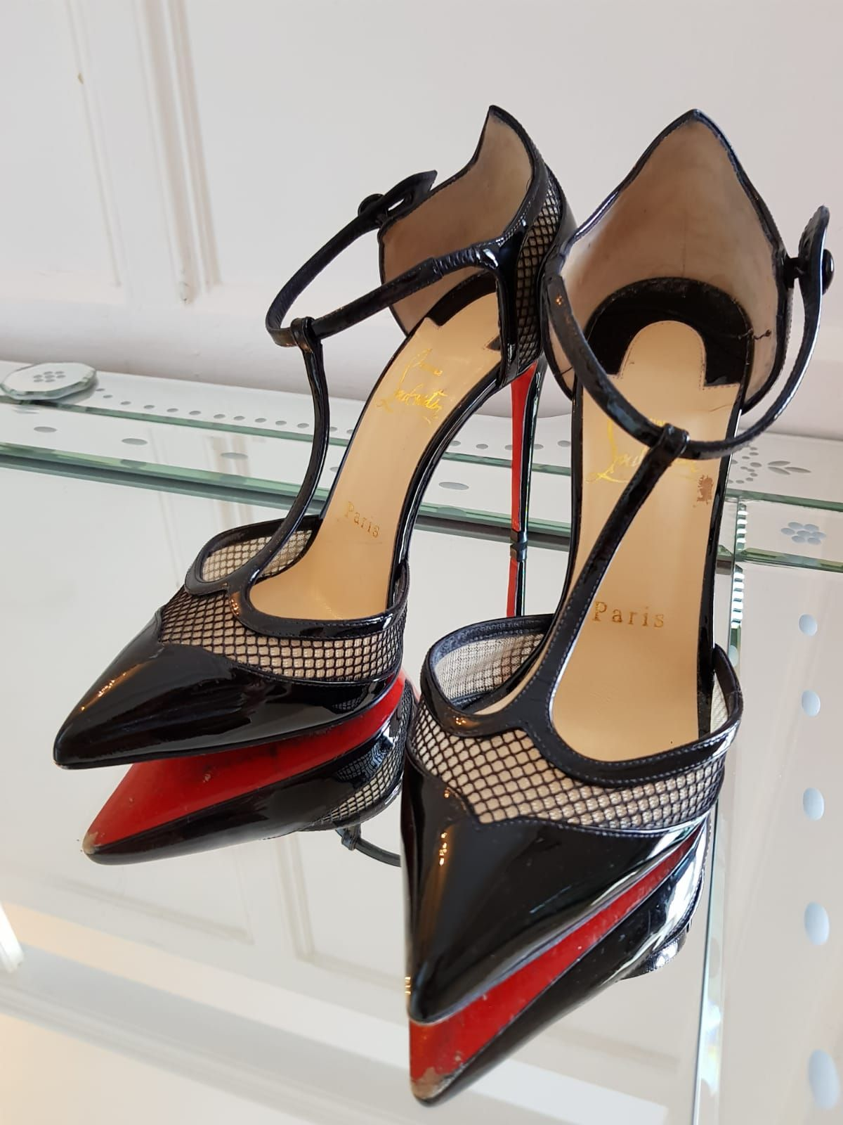 74304fb0315 Christian Louboutin Mrs Early 100 black patent heels