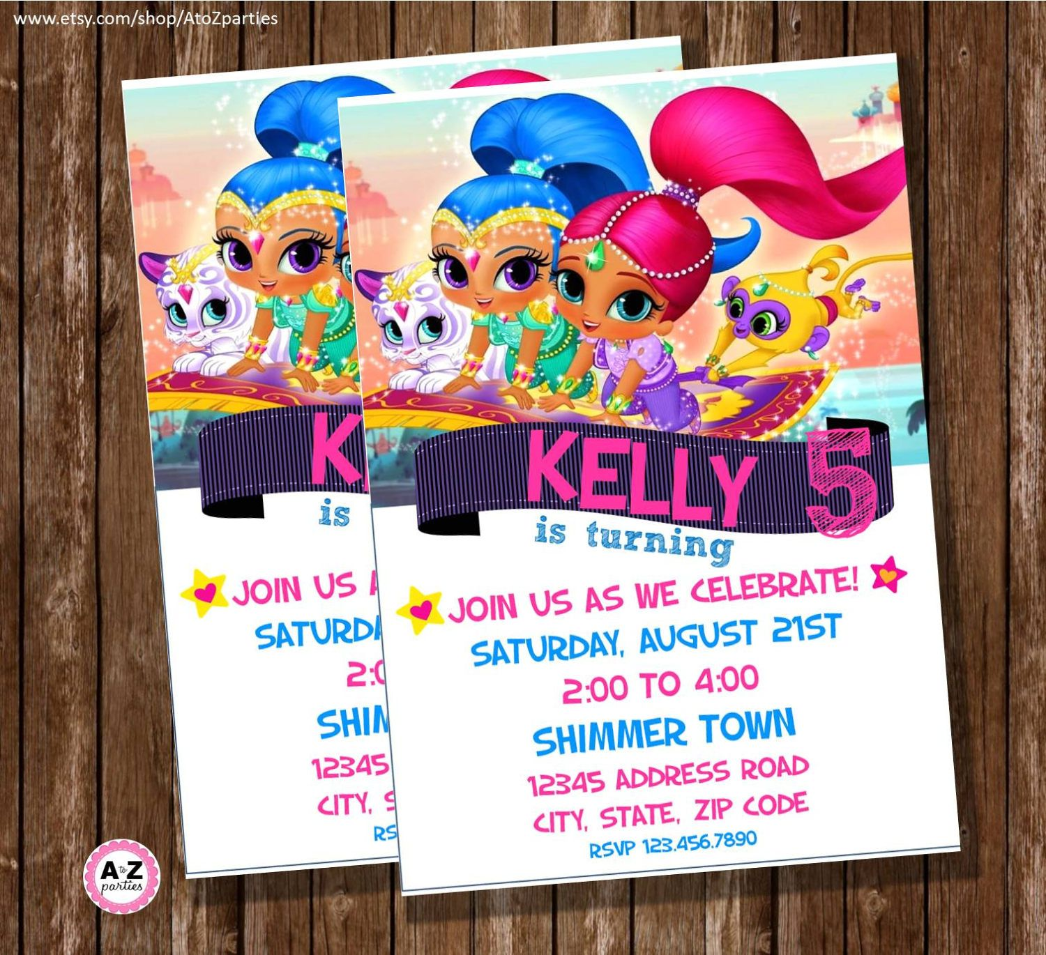 shimmer and shine birthday party personalized invitation printable
