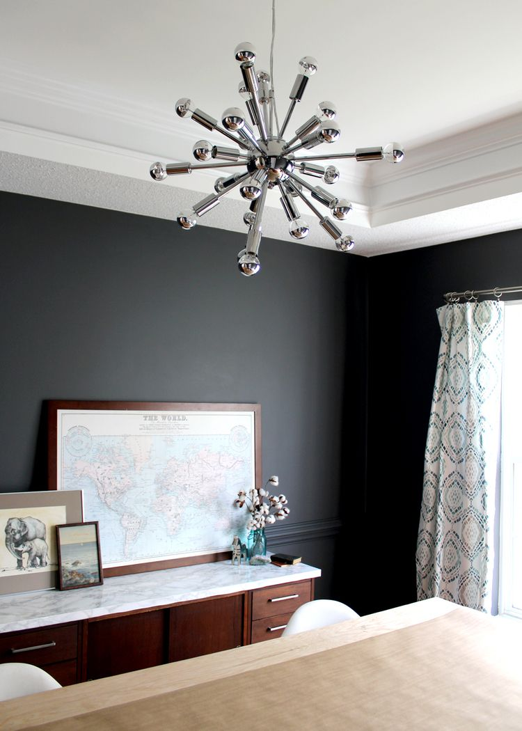 Modern Dark Grey Dining Room Makeover  Beige Room Pendant Impressive Dark Grey Dining Room Decorating Design
