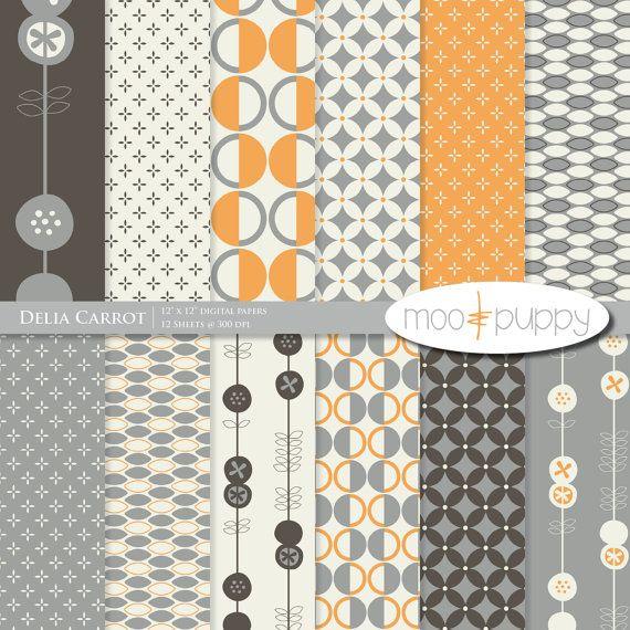 Delia Carrot Digital Scrapbook Paper Pack