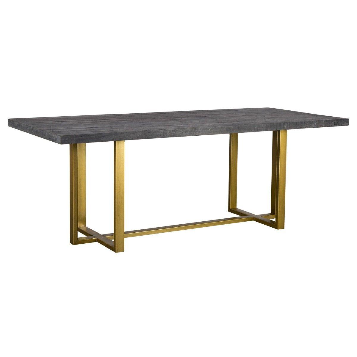 Elle Brass Leg Reclaimed Wood Dining Table 83 Reclaimed Wood