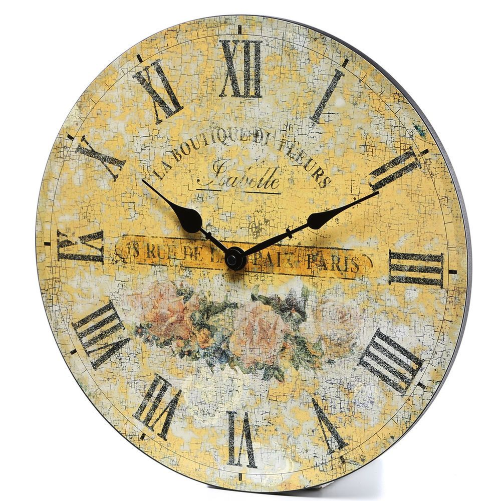 French Wall Clock Country Antique Wood Shabby Cottage Chic Roses ...