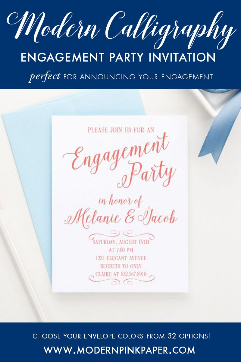 Elegant and Simple Engagement Party Invitations, Calligraphy ...