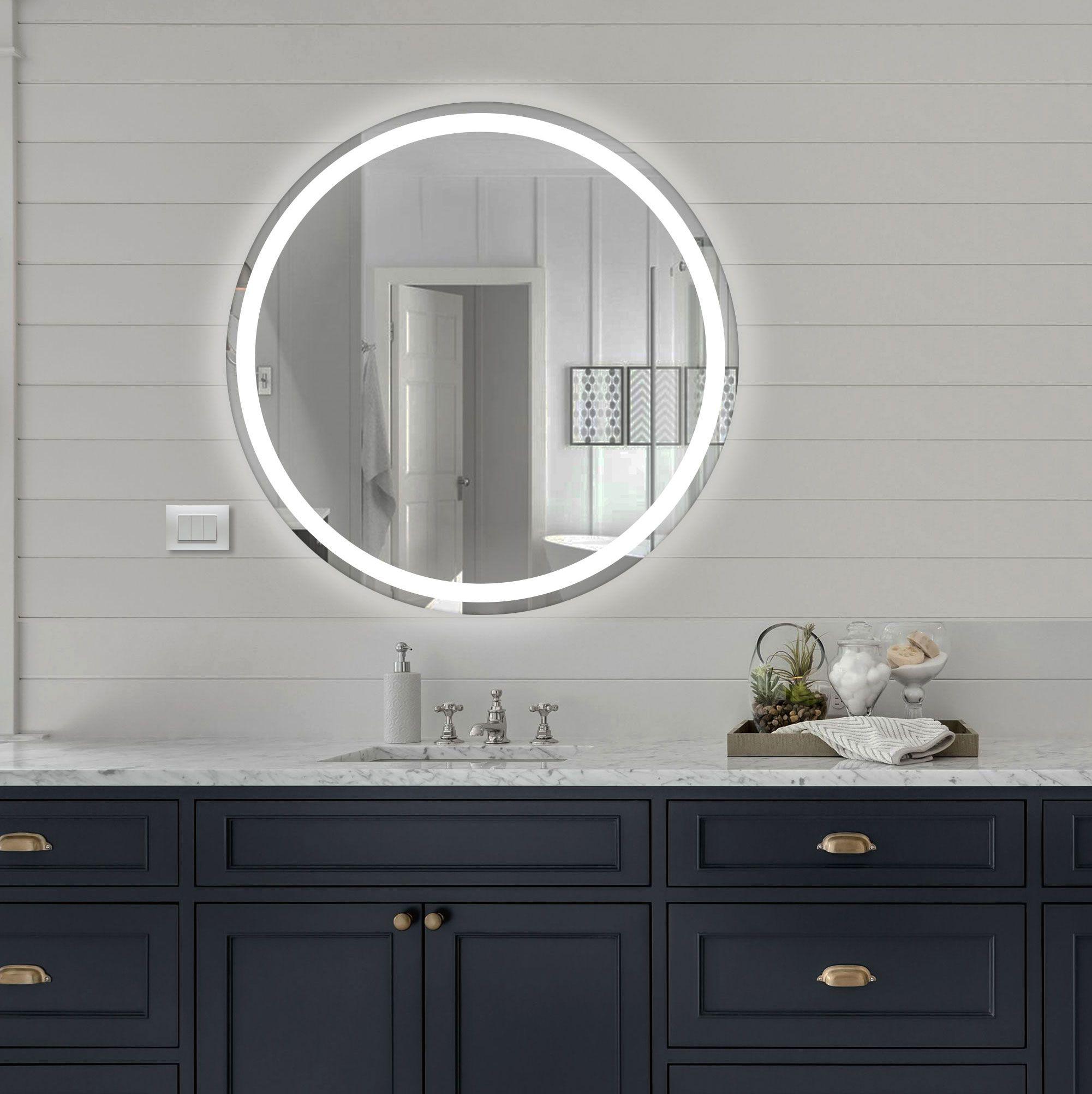 Specchio Bagno Led 100.Specchio Rotondo Retroilluminato Led Con Banda Sabbiata Interna