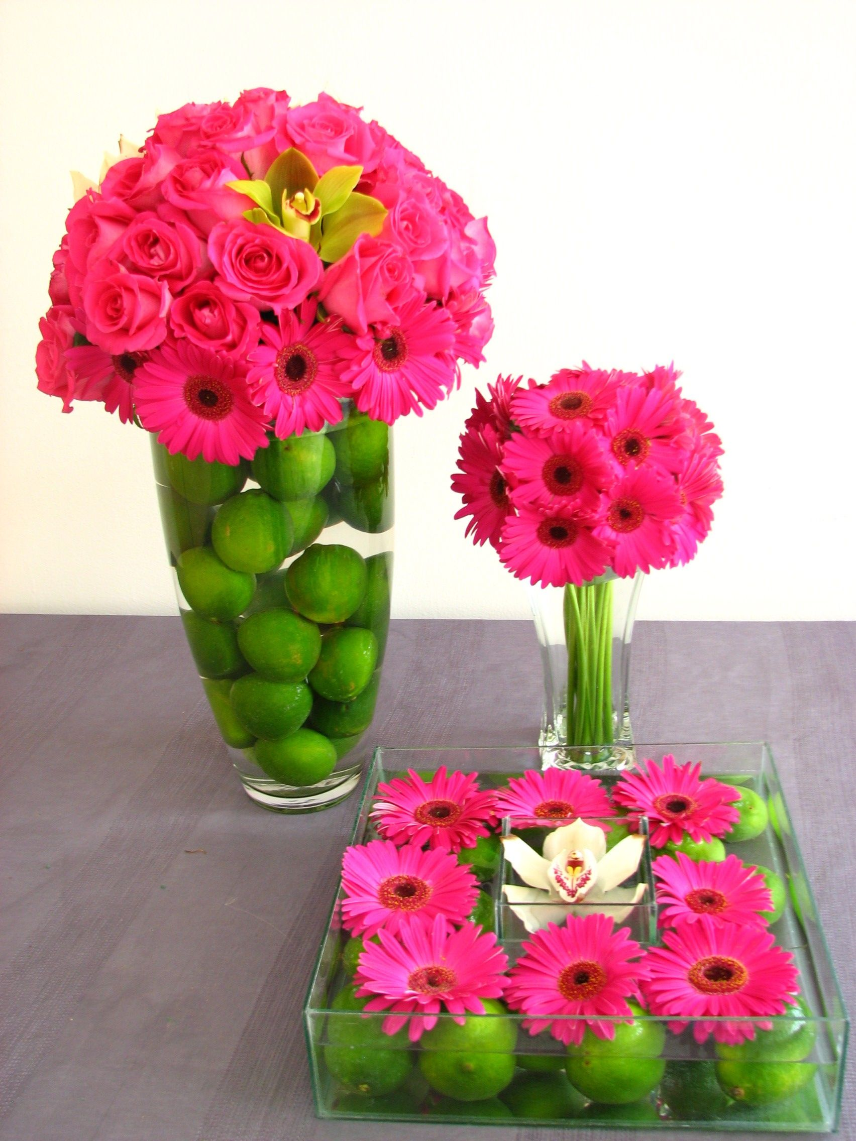 Green Lime Pink Flower Table Displays And Centerpieces For A Bright Cheerful Wedding Or Party Theme With Lemons