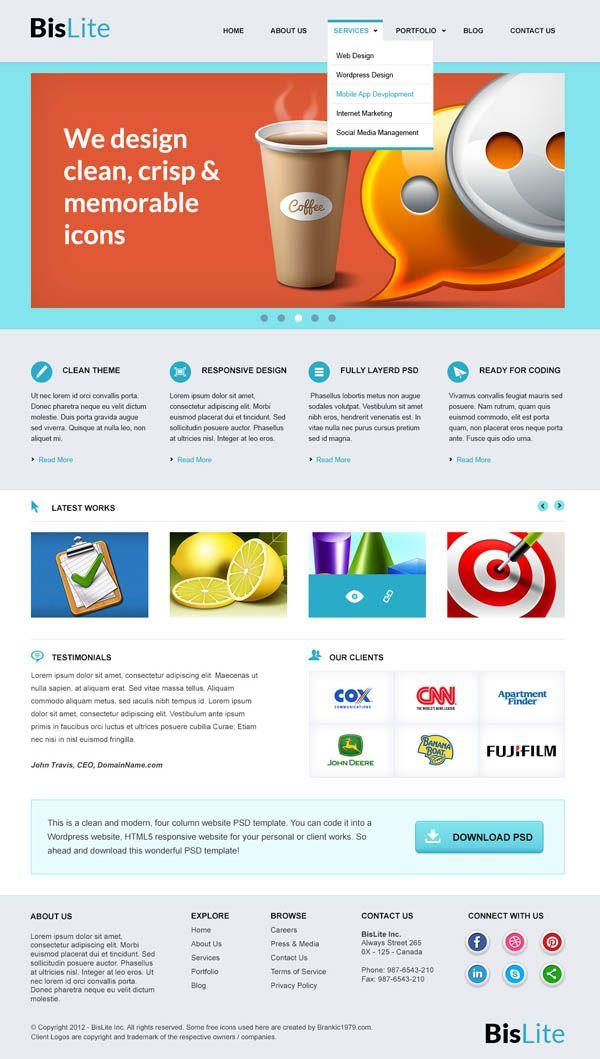 Fresh Free PSD Website Templates | Psd Templates | Pinterest