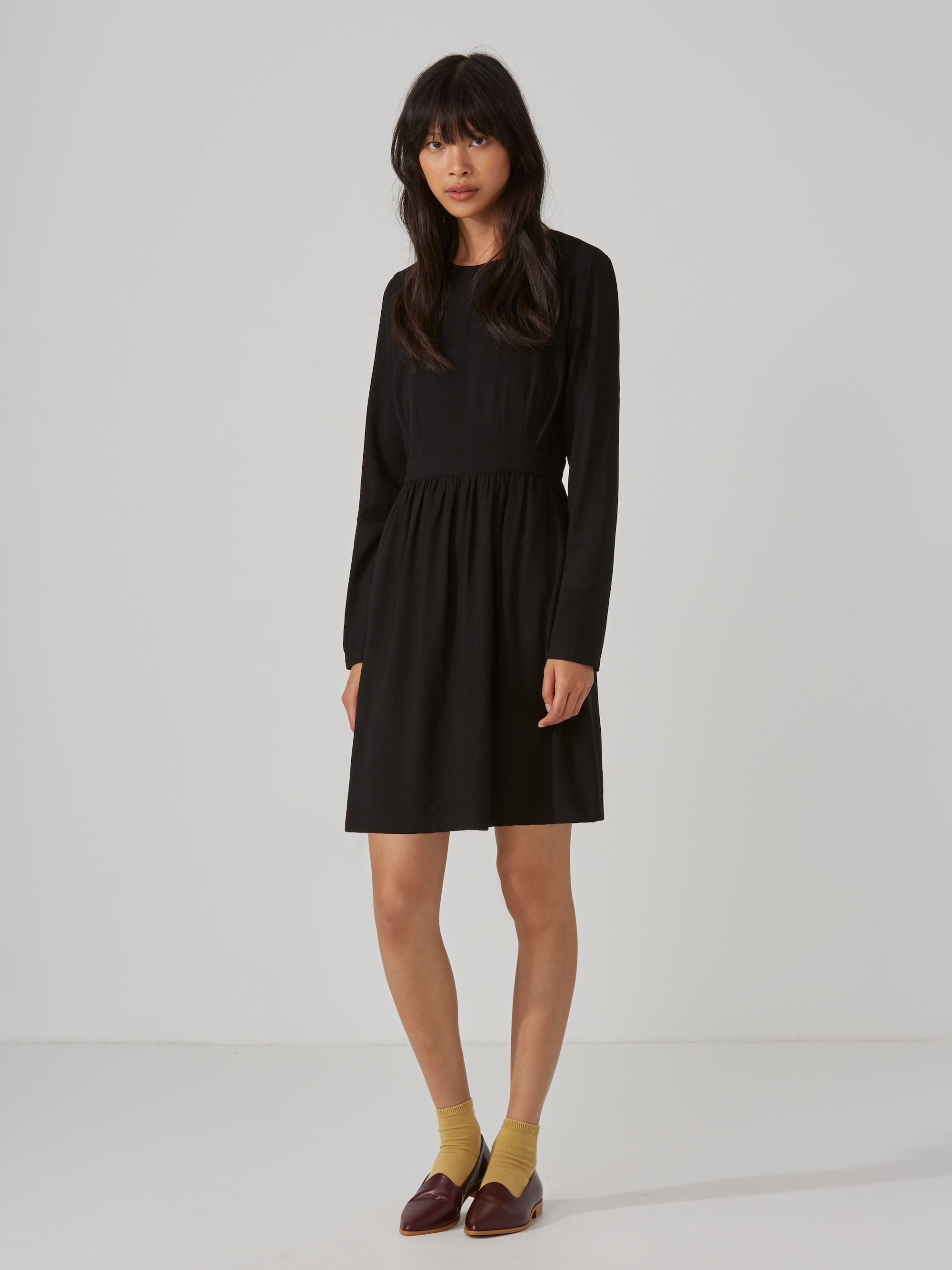 Long Sleeve Fit And Flare Dress In True Black Frank And Oak Fit And Flare Dress Clothes For Women Fit And Flare [ 2667 x 2000 Pixel ]