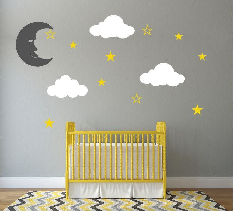 Wall Decals For Baby Nursery Includes Moon, Fluffy Clouds, And Stars Part 59
