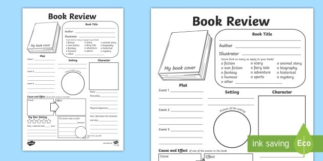 In Depth Book Review Writing Template  Reading Book Review