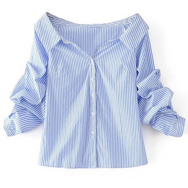 Off Shoulder Single Breasted Blouse (68 PEN) ❤ liked on Polyvore featuring tops, blouses, shirts, blue cotton shirt, long tops, blue off the shoulder top, long shirt and long blue shirt
