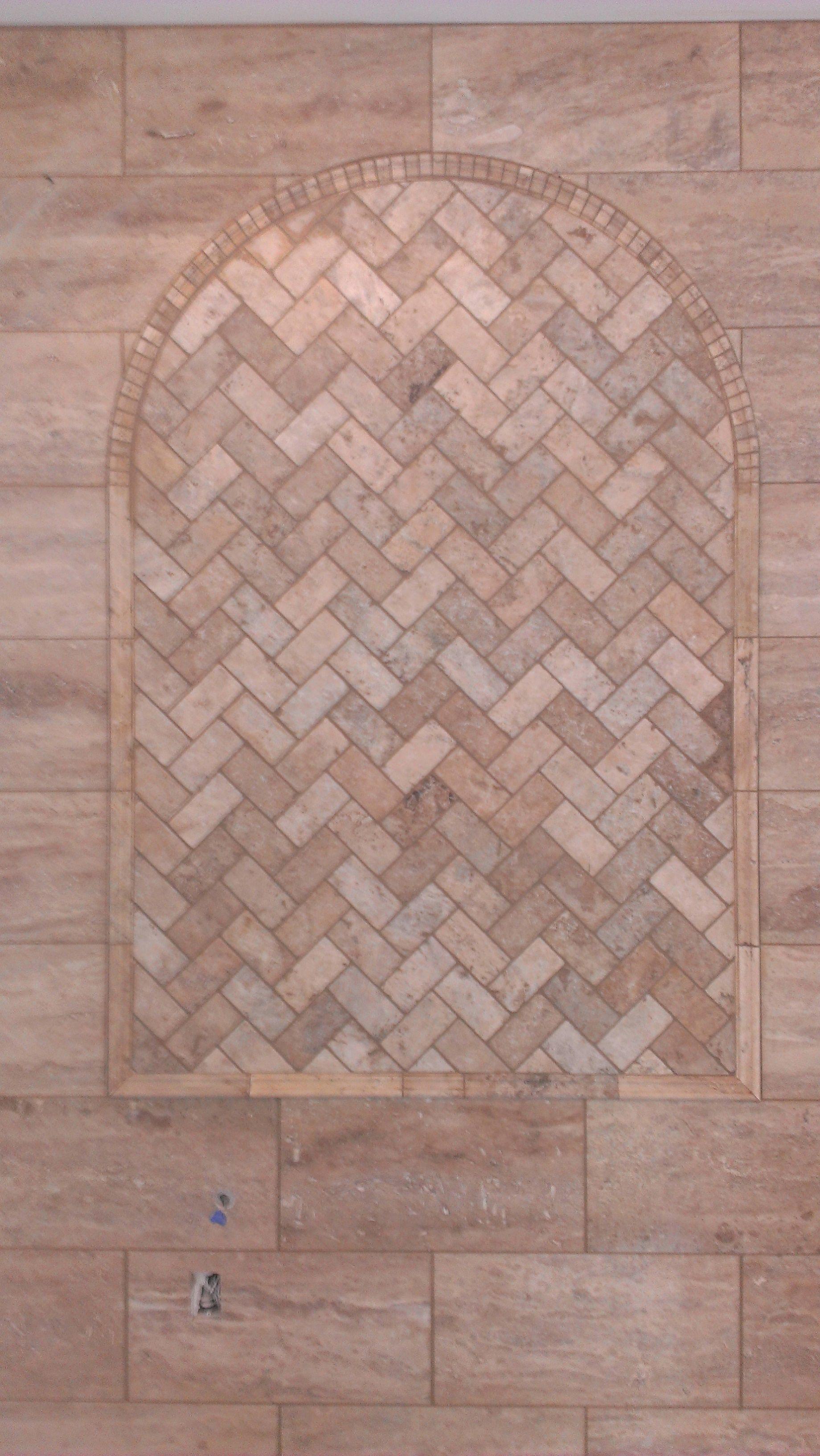 Travertine Floor Inlays : Custom travertine herringbone inlay bluegrass flooring