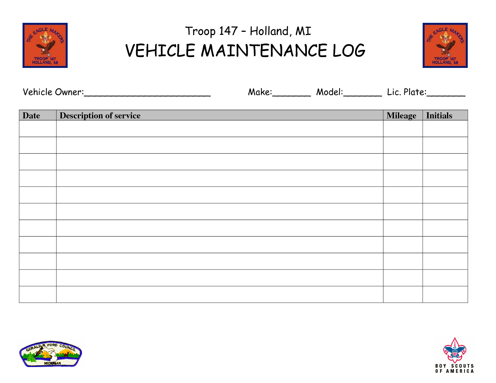 Car Maintenance Log Template  Troop   Holland Mi Vehicle