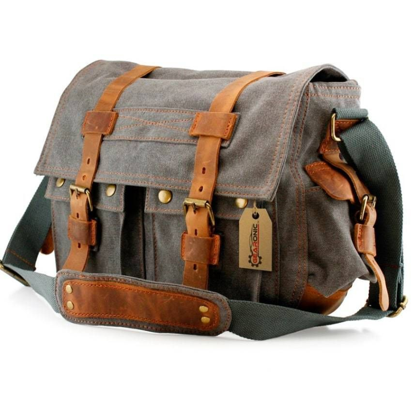 742054b2a2 Backpack School Military Bag Shoulder Leather Satchel Men Canvas Messenger  Khaki