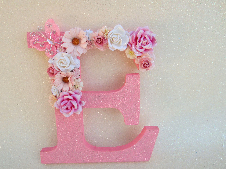Flower Name Letter Pink E Nursery Wall Decor Glitter Christmas Gift Wedding By