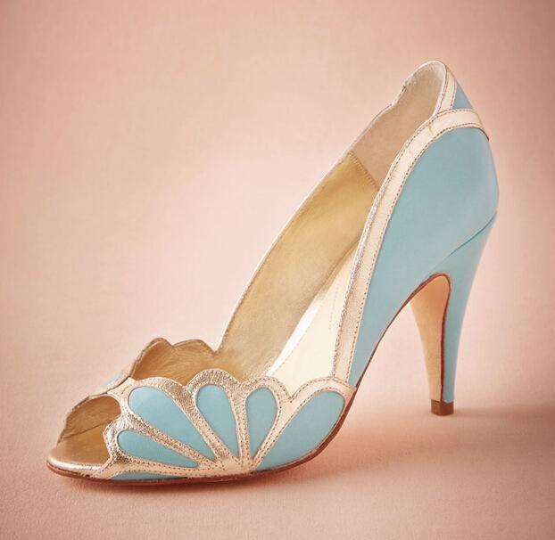 Real Blue Wedding Shoes 2016 Vintage Bridal Isabella Scalloped ...
