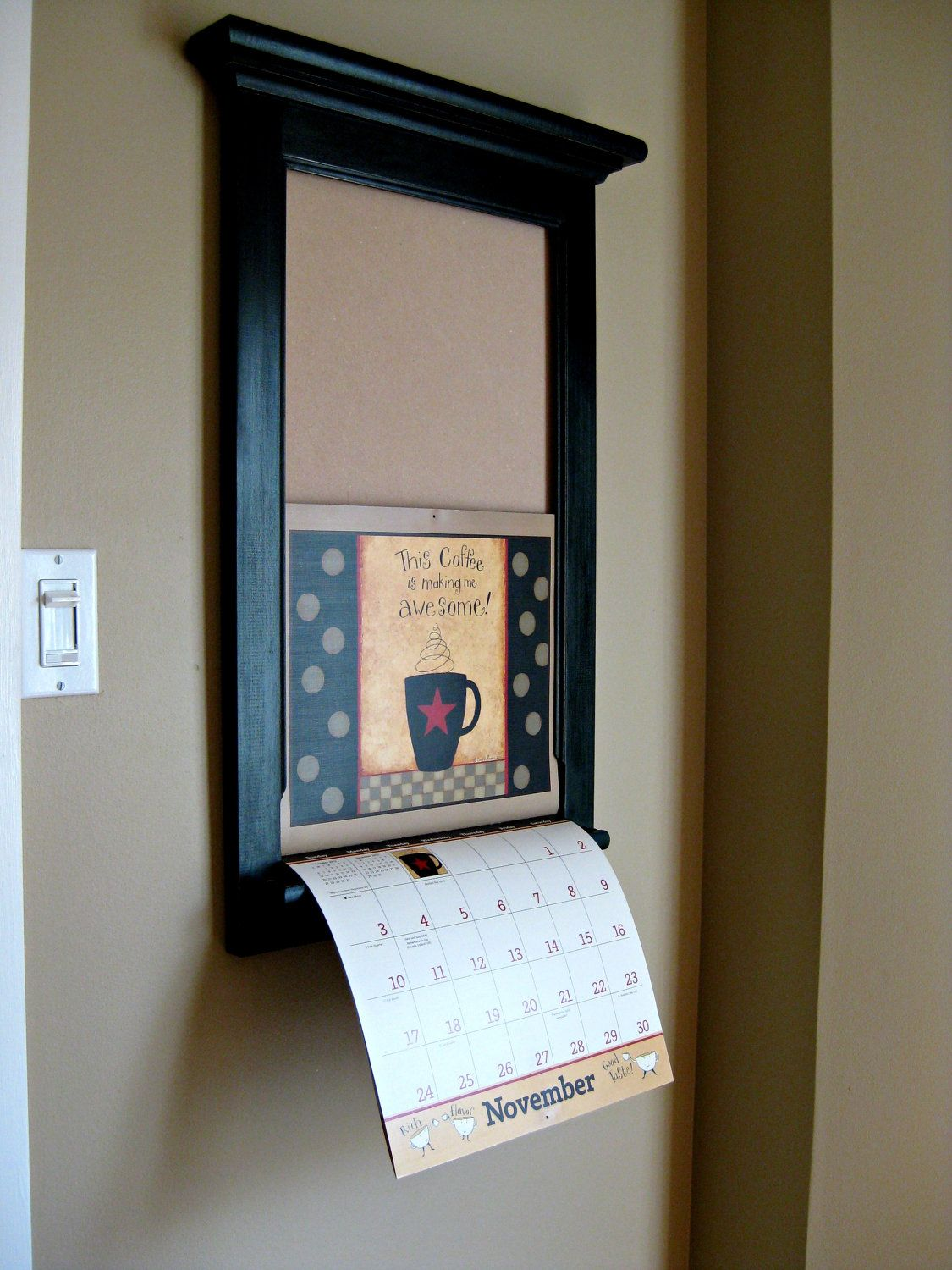 calendar frame family organizer storage shelf and keyhook furniture front loading slide calendar frame for lang calendar
