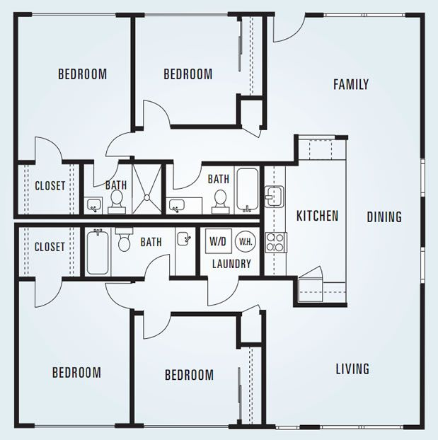 614 sycamore four bedroom unit 2 1 620 square feet for Four bedroom flat floor plan