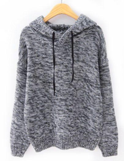 Grey Hooded Long Sleeve Drawstring Knit Sweater pictures ...