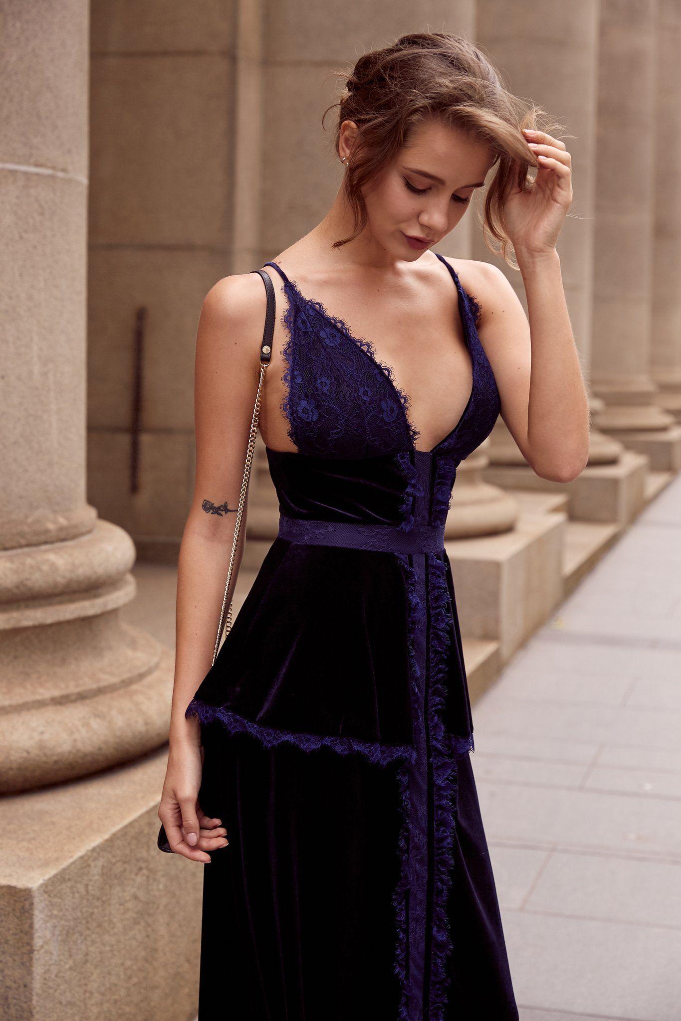 Velvet and lace lingerie inspired cocktail dress 6489f4db8