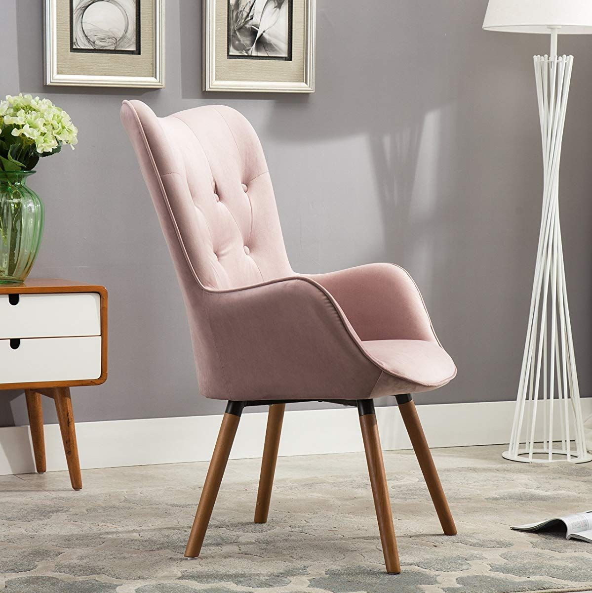 Dining Room Accent Pieces: Tufted Button Back Accent Chair, Mauve In 2019