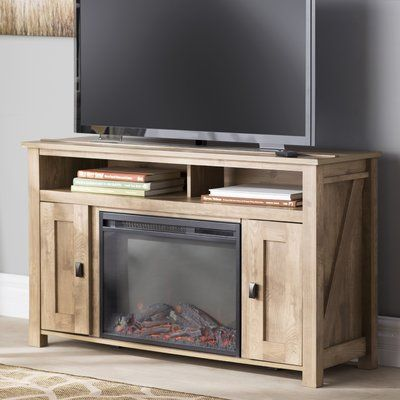 Mistana Whittier Tv Stand For Tvs Up To 50 With Fireplace Color Heritage Light Pine Tv Stand Fireplace Tv Stand Electric Fireplace Tv Stand