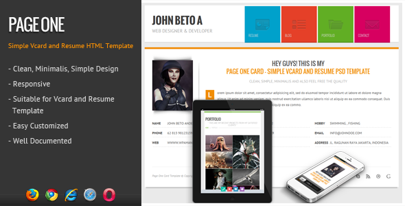 Page One  Responsive Vcard Resume Html Template  Website