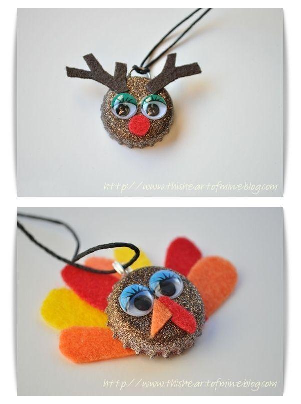 Diy Bottle Cap Crafts 712553972281918162 -  Reindeer Bottle Cap Necklace – #Bottle #Cap #Necklace #Reindeer –  DIY Lovely Reindeer & Turkey Bottle Cap Necklace by Christie Source by nowastecrafts