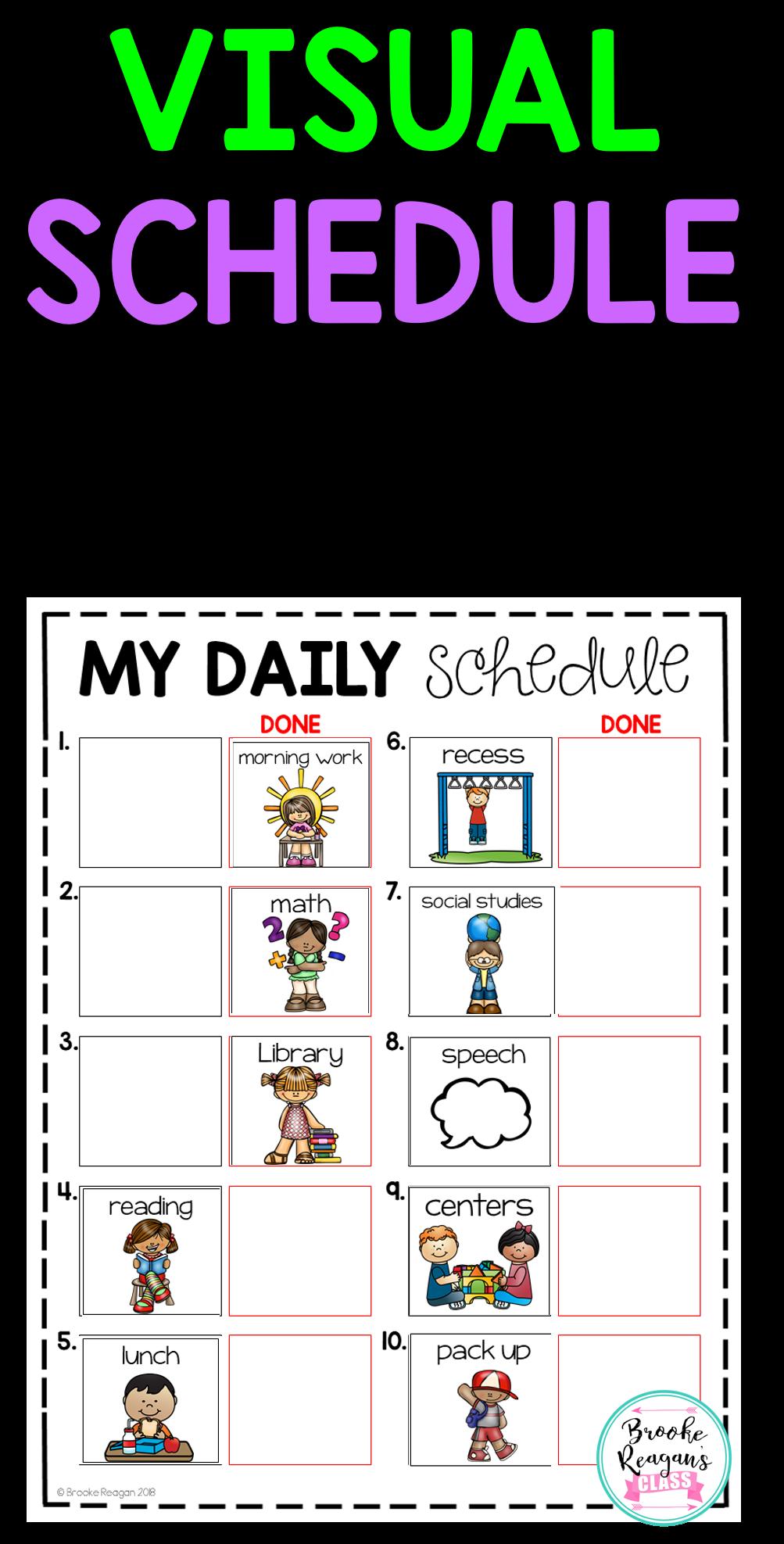 Visual Classroom Schedules Editable Classroom Schedule Visual Schedule Preschool Special Education Classroom [ 1975 x 1003 Pixel ]