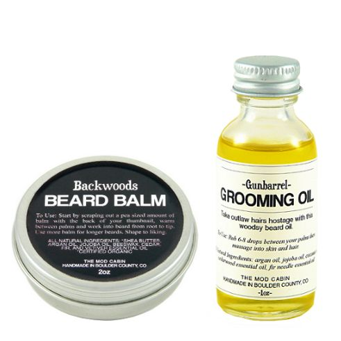 Now you can purchase our beard balm and beard oil together as a set and save! Get our beard thickening Backwoods Beard Balm with your choice of one of our follicle nourishing Beard Oils. Choose from three scents; Gunbarrel, Stirner, or Vagabond.  Our Beard Balm is perfect for daytime use to moisturize as it thickens and shapes your beard.  Use our Beard Oil for a bit of extra moisture later in the day or before bed.  You can even treat your beard to a hot oil treatment .